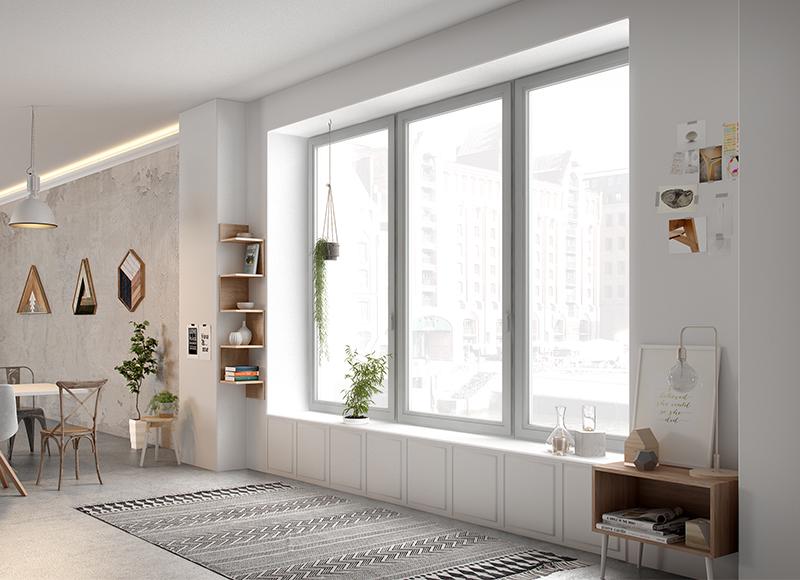Porte-fenêtre coulissante en aluminium